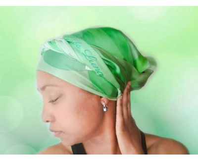 Emeralds Long Silk Hair Wrap Scarf