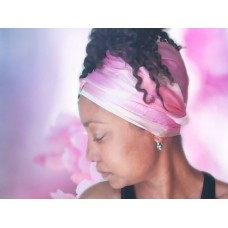 Pink Lotus Long Silk Hair Wrap Scarf