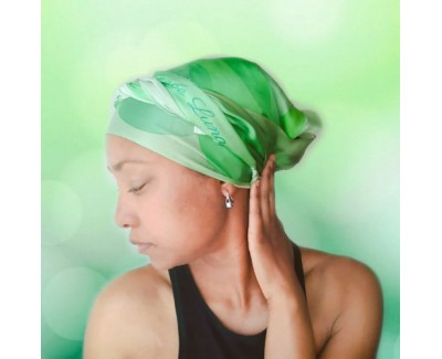 Emeralds Long Silk Hair Wrap Scarf