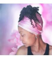 Pink Lotus Long Silk Hair Wrap Scarf
